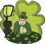 Free Clipart Of A St Patricks Day Man Drinking Beer