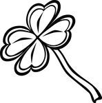 Free Clipart Of A Black And White St Paddys Day 4 Leaf Clover Shamrock
