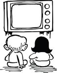 Free Clipart Of Kids Watching Tv