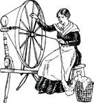Free Clipart Of A Woman Using A Spinning Wheel