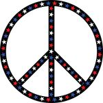 Free Clipart Of A Patriotic American Star Patterned Peace Symbol