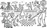 Free Clipart Of A Family Gardening