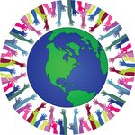 Free Clipart Of A Globe Encircled With Hands