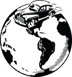 Free Clipart Of A Vintage Car On A Globe