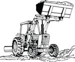 Free Clipart Of A Tractor With A Full Bucket