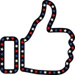 Free Clipart Of A Patriotic American Star Patterned Thumb Up