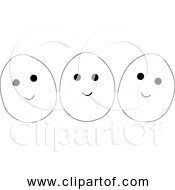 Free Clipart Of Three Happy Eggs With Eyes And Mouth