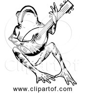 Free Clipart Of Frog Playing Mandolin Black And White Version