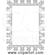 Free Clipart Of A Vintage Rectangle Frame Black And White Version