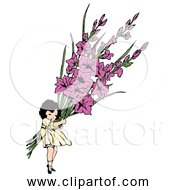 Free Clipart Of Flower Girl Carrying Gladiolus