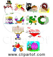 Free Clipart Of Retro 8 Bit Holiday Collection