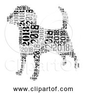 Free Clipart Of 2018 Dog Black And White Version
