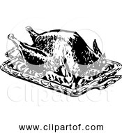 Free Clipart Of Roasted Turkey Retro Black And White Version