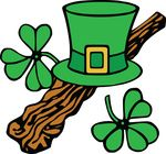Free Clipart Of A St Patricks Day Leprechaun Hat And Shamrocks