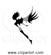 Free Clipart Of Fairy Flying Black Silhouette