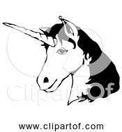 Free Clipart Of Unicorn Head Black And White