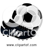 Free Clipart Of A Soccer Ball And Cleat Black And White