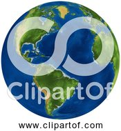 Free Clipart Of A 3D Earth Globe With Clear Skies