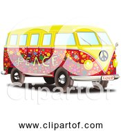 Free Clipart Of A Volkswagen Type 2 Transporter Bus Colorful Hippy Style With Peace And Love