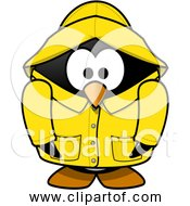 Free Clipart Of Cartoon Penguin Wearing Raincoat