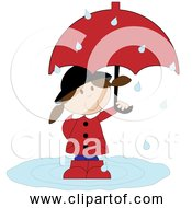 Free Clipart Of Cartoon Girl In The Rain With Umbrella