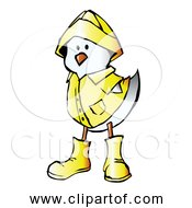 Free Clipart Of White Chick Wearing Yellow Raincoat