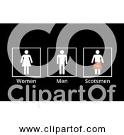 Free Clipart Of Funny Bathroom Sign With Women Men And Scotsmen