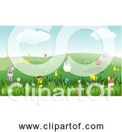 Free Clipart Of Easter Landscape With Bunnies Chicks Eggs Chicken Flowers