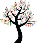 Free Clipart Of A Colorful Clover Shamrock Tree