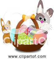 Free Clipart Of A Bunny Face With Easter Eggs In Basket With Baby Rabbit