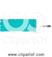 Free Clipart Of Aqua Green Paint And Roller