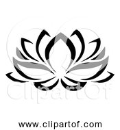 Free Clipart Of Bold Black Lotus Flower Outline