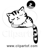 Free Clipart Of A Sleeping Kitty Cat Black And White