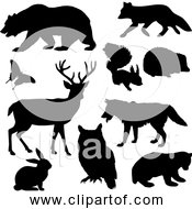 Free Clipart Of Woodland Animals Black Silhouette Version