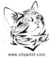 Free Clipart Of Tribal Kitten In Black Line Art