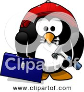 Free Clipart Of A Cartoon Craftsman Penguin