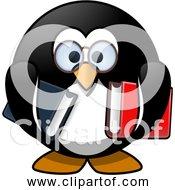 Free Clipart Of A Cartoon Bookworm Penguin