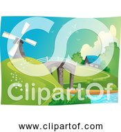 Free Clipart Of A Windmill In Landscape With Bridge Water And Home