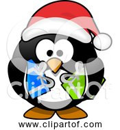 Free Clipart Of Cartoon Santa Penguin With Gifts