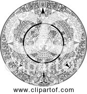 Free Clipart Of Aztec Calender In Black And White