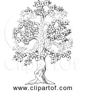 Free Clipart Of Flowering Tree In Black And White