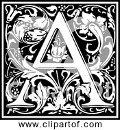 Free Clipart Of Letter A Ornate Black And White Alphabet Design