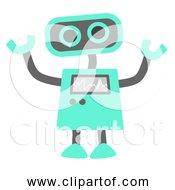 Free Clipart Of Aque Blue Robot