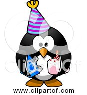 Free Clipart Of Cartoon Birthday Party Penguin With Cake