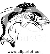 Free Clipart Of A Jumping Fish Black And White