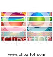 Free Clipart Of 12 Colorful Banners Collection