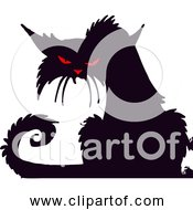 Free Clipart Of A Grumpy Black Cat With Red Eyes And Nose