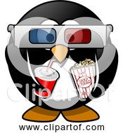 Free Clipart Of Cartoon Cinema Penguin With Soda Popcorn 3d Glasses