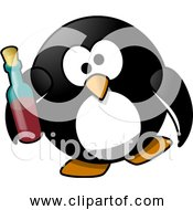 Free Clipart Of Cartoon Drunk Penguin With Bottle Of Alcohol