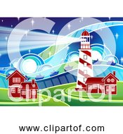 Free Clipart Of Stylized Lighthouse Scenery